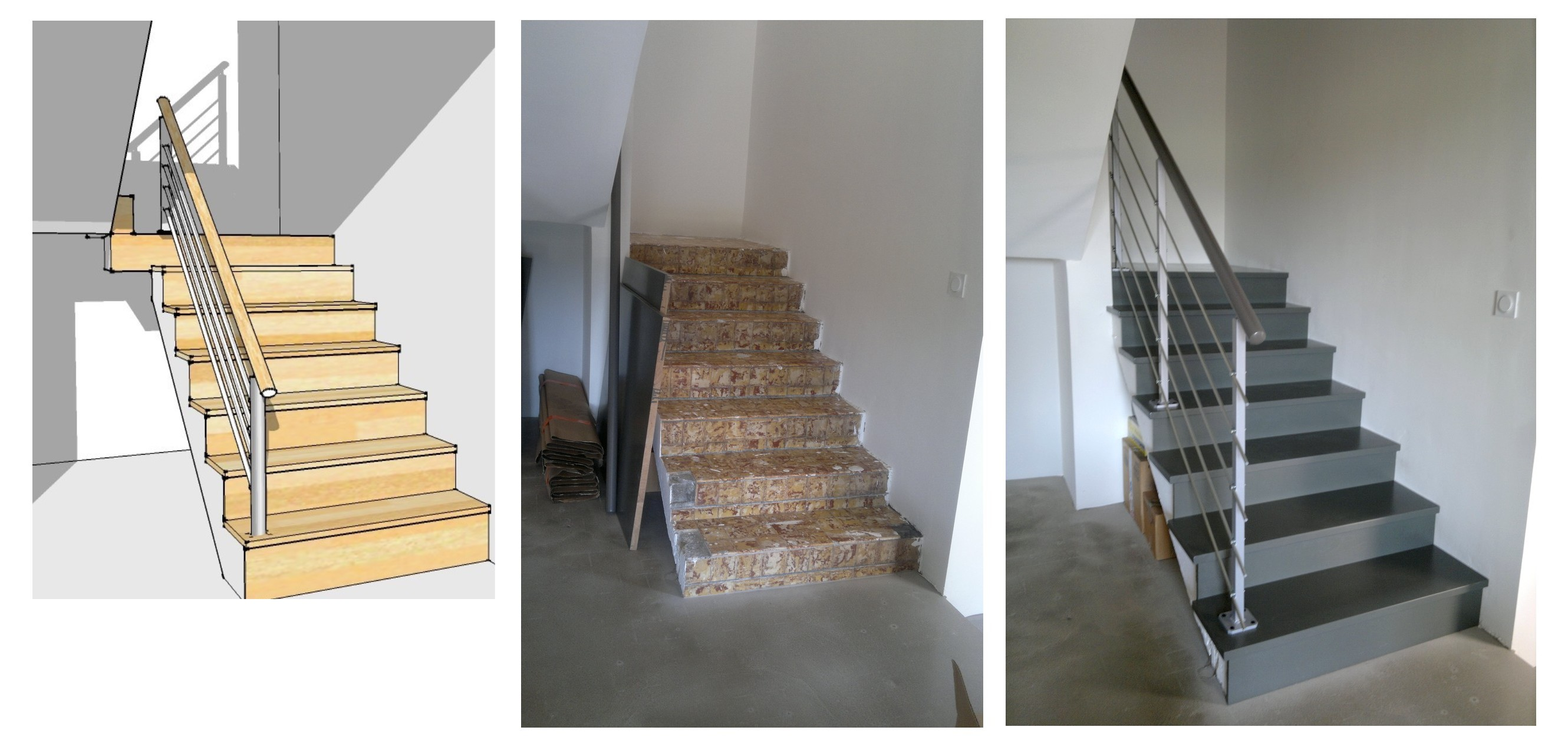 Escaliers bois standards ou sur mesure for Habillage escalier beton interieur